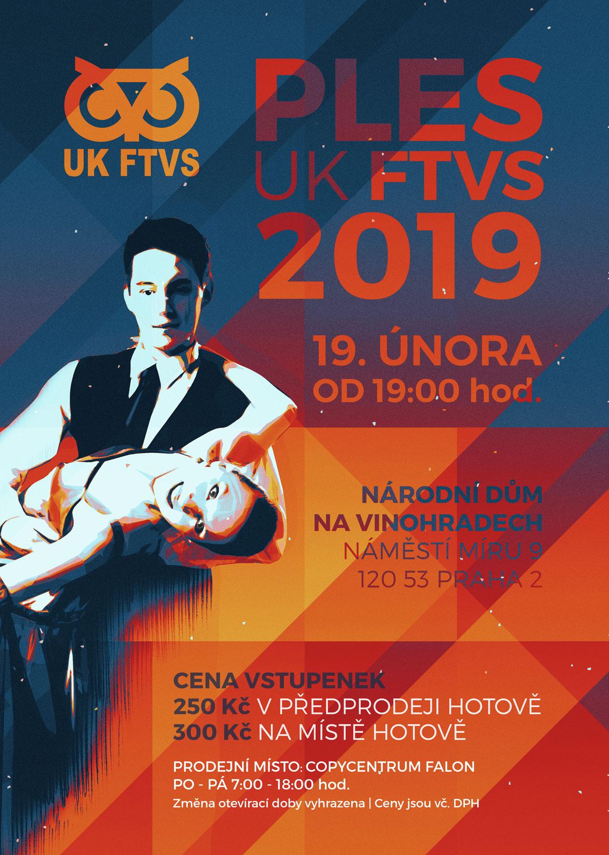 Plakát ples UK FTVS 2019