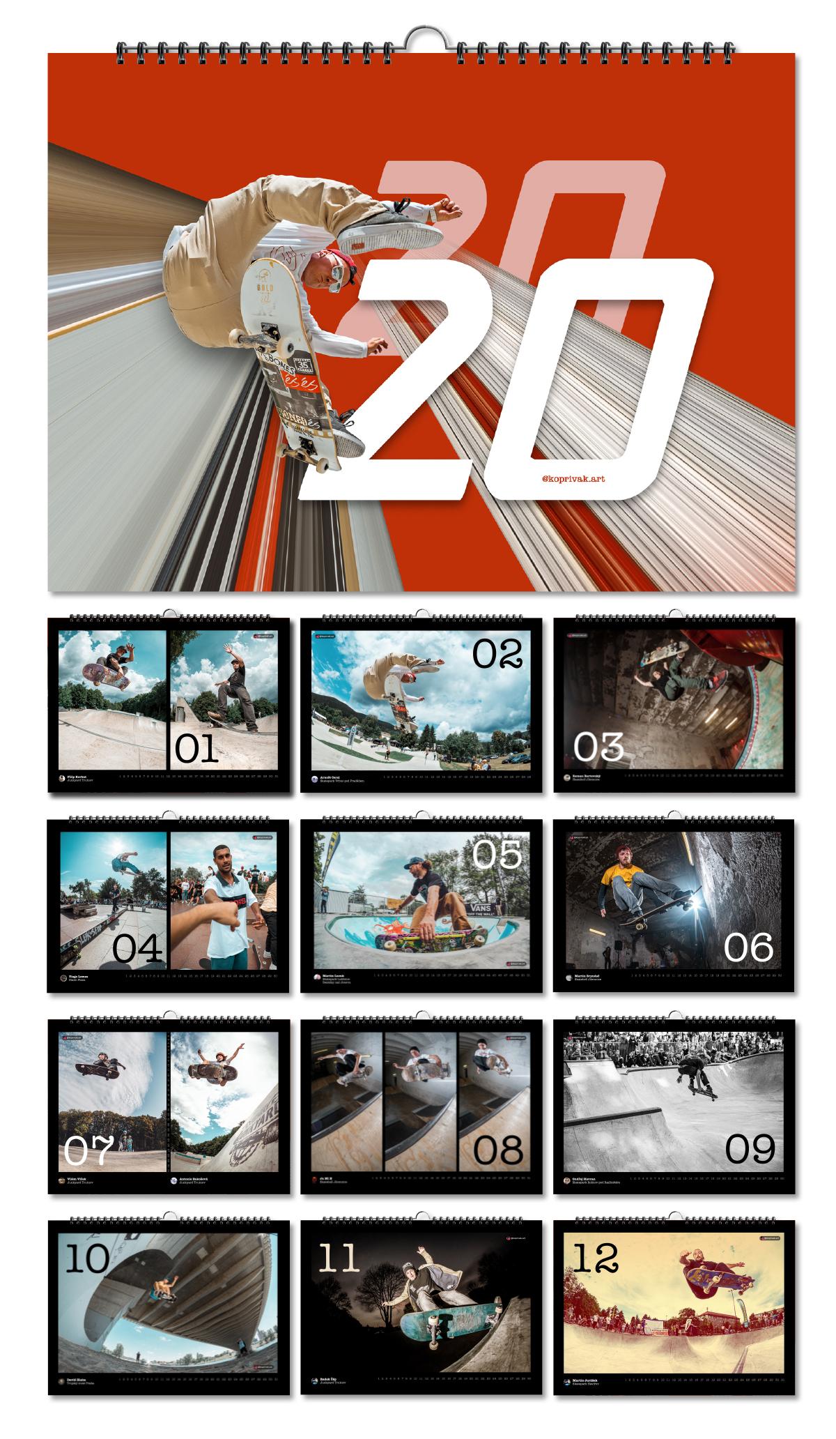 Skateboardový kalendář 2020
